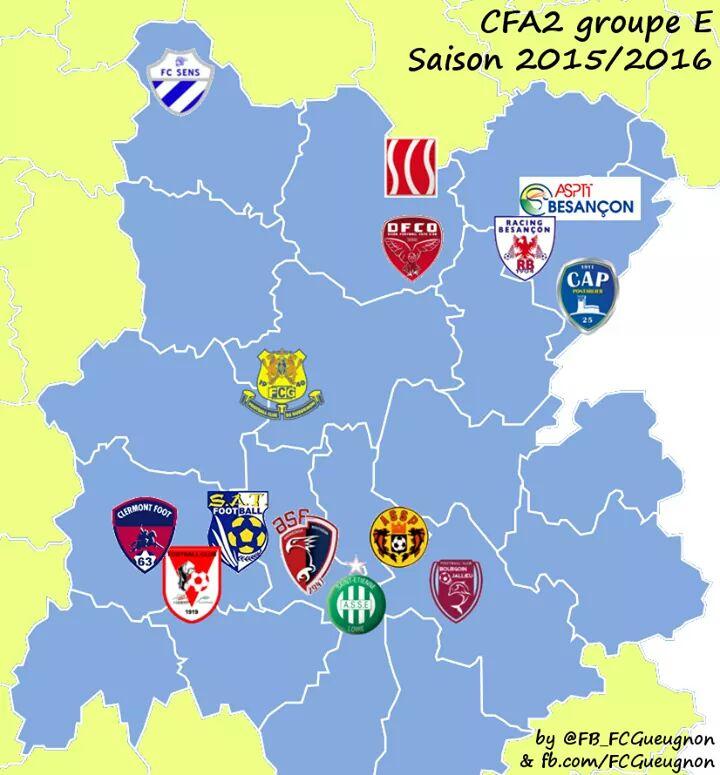 CFA2 groupe E 2015 2016 Gueugnon Dijon Selongey Sens Besancon Pontarlier Clermont Cournon Thiers Andrézieux Bouthéon St Etienne ASSE Priest Bourgoin Jallieu