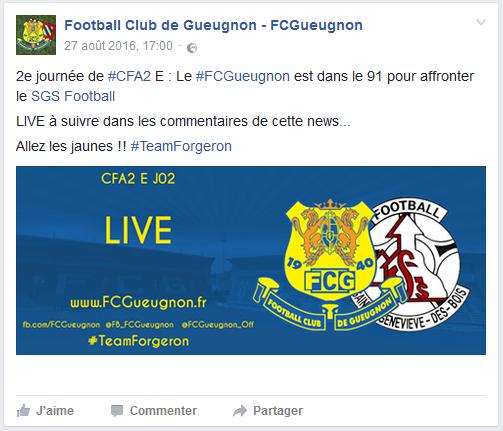 live fc gueugnon sainte geneviève sgs foot cfa2