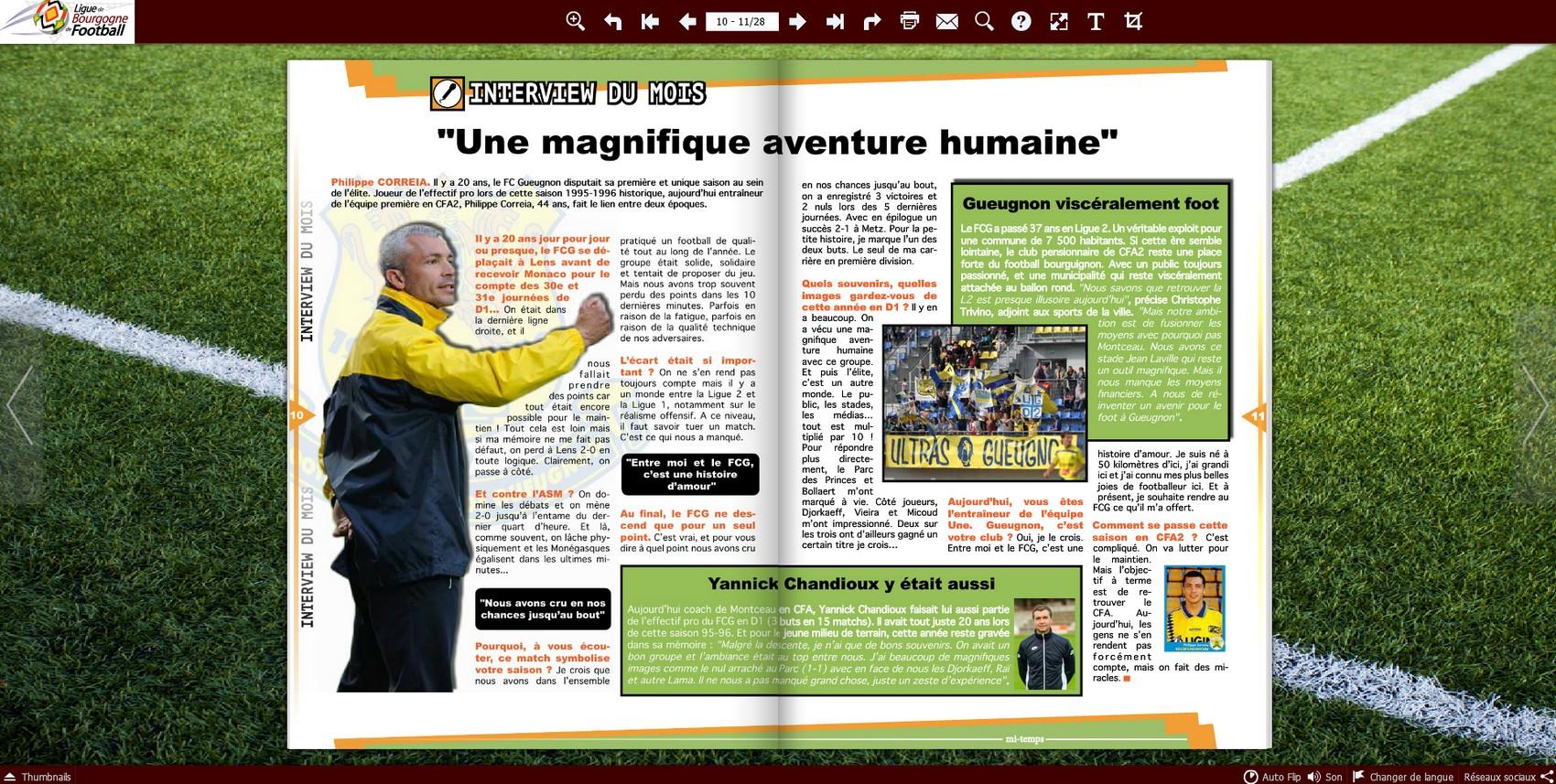 vestiaire magazine mi temps ligue bourgogne philippe correia clenay