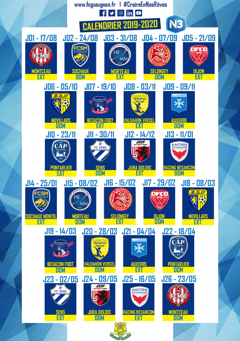Calendrier National 2020 2019.National 3 Calendrier De La Nouvelle Saison Football Club