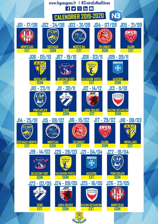 National 3] Calendrier de la nouvelle saison   FOOTBALL CLUB GUEUGNON