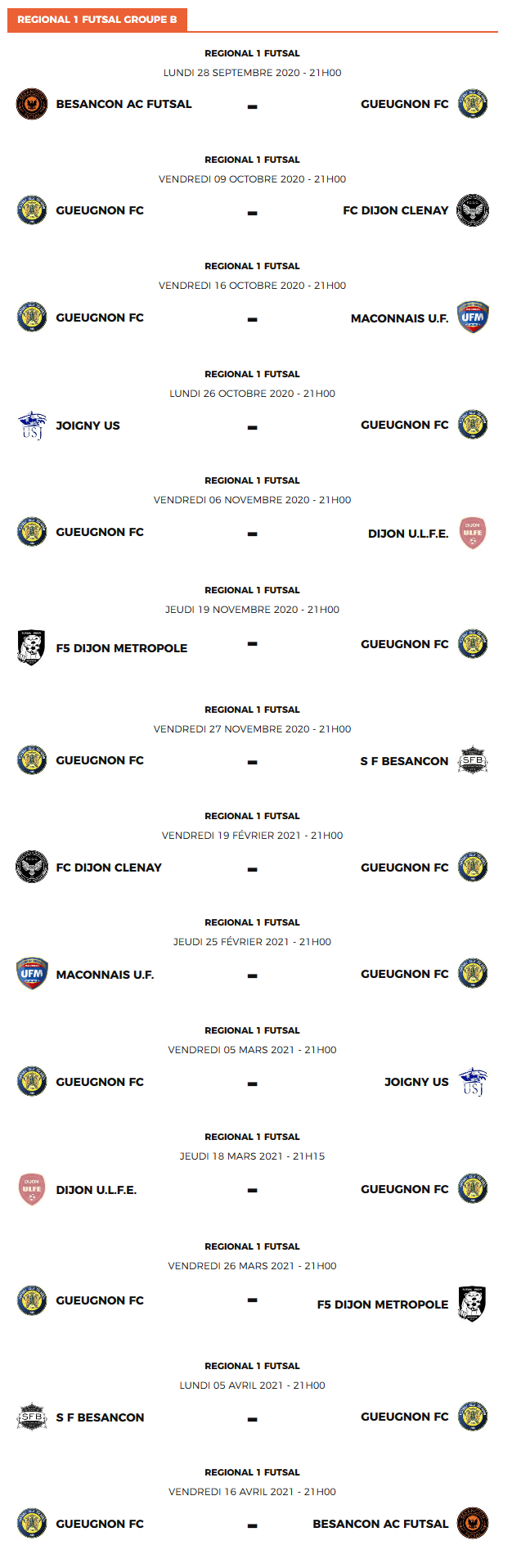 Futsal Calendrier 2020-2021 | Football-Addict