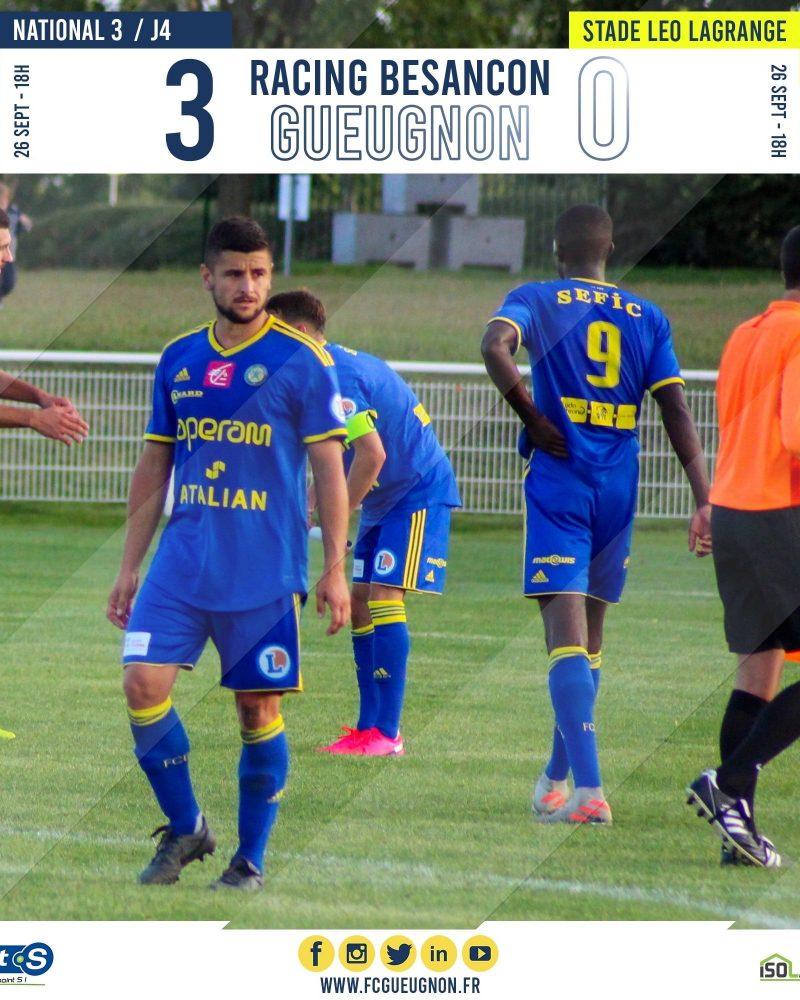 [N3 J04] Racing Besançon 3–0 FC Gueugnon : Résultat