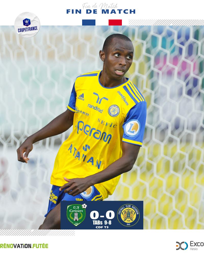 [CDF T3] US Cerisiers 0 – 0 FC Gueugnon (TAB 9 – 8 ) : Résultat