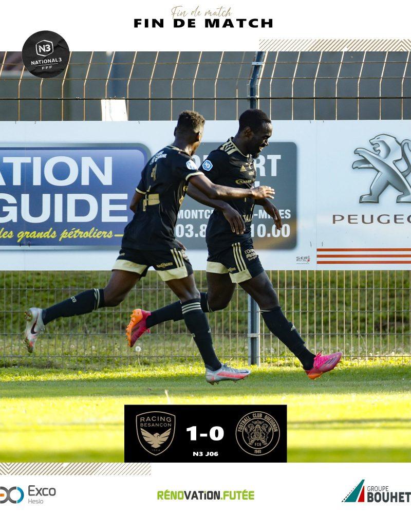[N3 J06] Racing Besançon 1–0 FC Gueugnon : Résultat